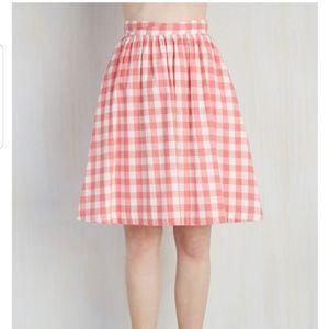 Modcloth Garden Gallery Pink Gingham Skirt 2x